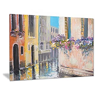 Artdesign Designart Canal in Venice with Flowers - Cityscape Metal Wall Art - MT6231-28x12