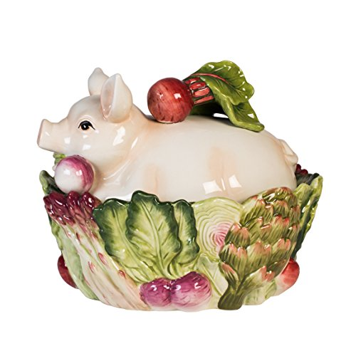 French Market Collection, Covered Vegetable Bowl, White/Green/Pink by Fitz and Floyd Green Covered Vegetable Bowl