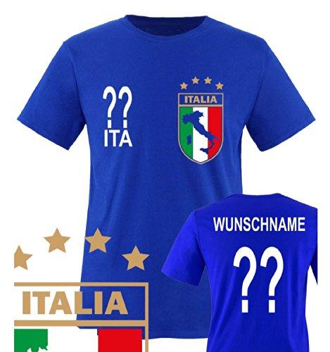 Comedy Shirts - WM 2014 - ITALIEN - VORNE und HINTEN - WUNSCH - Kinder T-Shirt - Royalblau Gr. (Für Kostüm Italien Von Kinder)