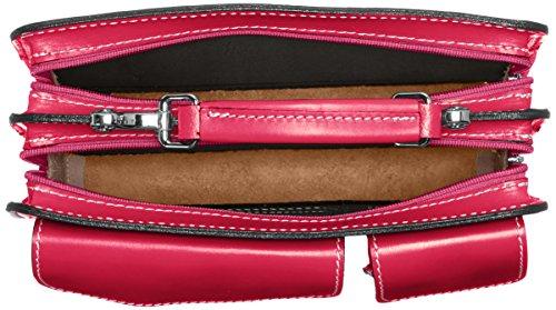 CTM Man Tasche Jobs Kleine Aktentaschen Aktentasche, 27x20x11cm, 100% echtes Leder Made in Italy Violett (Fucsia)