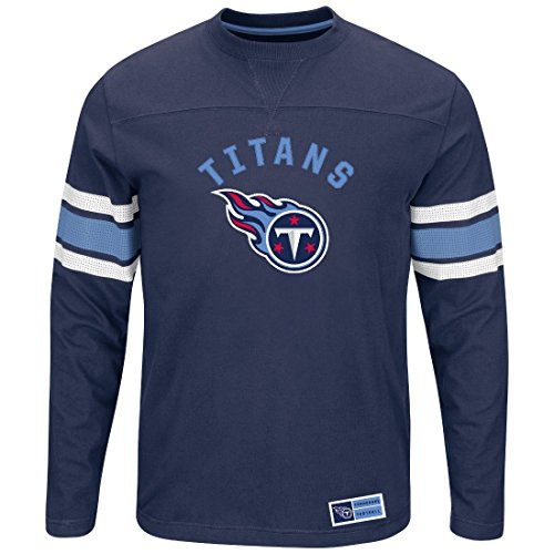 TENNESSEE TITANS Majestic Langarm NFL Powerful Hit Men's Long Sleeve Crew Shirt (M) (Tennessee-crew-t-shirt)