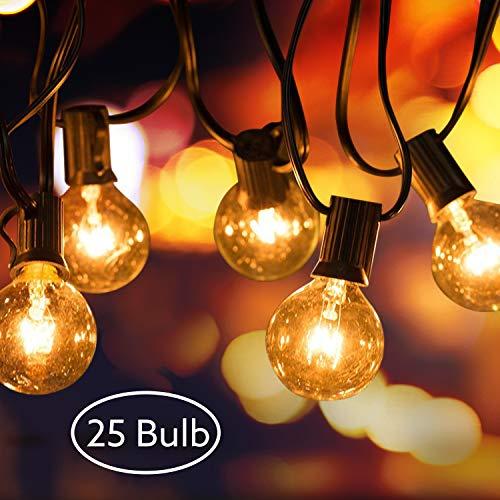 AODOOR Lichterkette Außen, Lichterkette Glühbirnen G40 Globe Garten Lichterkette Warmweiß, Innen-und Außen Deko Glühbirne für Party, Halloween, Garten, Zimmer, (25 Glühbirnen+2 Ersatzglühlampen)