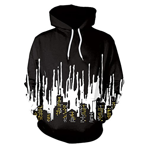 XZP Hip-Hop Punk Frauen Männer Sweatshir 3D Printed Cartoon Hoodies Pullover Bunte Hoodie Schwarze und weiße Stadt Sweatshirts Paar (Size : XXL)