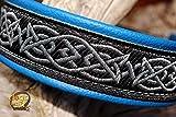 Hundehalsband Leder Celtic Knot Keltischer Knoten Blau Silber Schwarz Klickverschluss Alu Gravur erhältlich