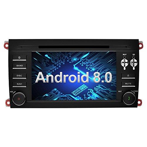 Ohok 7 Zoll Bildschirm 2 Din Autoradio Android 8.0.0 Oreo Octa Core 4G+32G Radio mit Navi Moniceiver DVD GPS Navigation Unterstützt Bluetooth WLAN DAB+ OBD2 für Porsche Cayenne 2003-2010