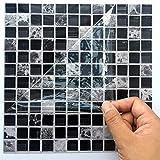 Ingeniously Autocollants en mosaïque, 10pcs / Set 3D Auto-adhésif imperméable à l'eau Noir marbre Autocollant de mosaïque en mosaïque Sticker Mural décoration pour la Salle de Bain Kitcheh...