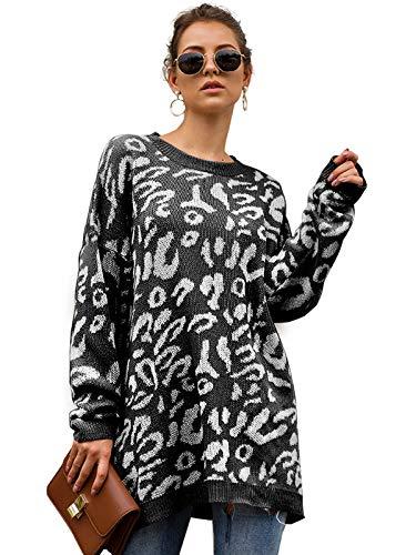 Durio - Jersey de Punto para Mujer, Talla Grande, Manga Larga, Informal, suéter Suelto para Invierno y otoño Negro 40