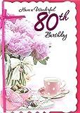 Karten Fülle, Online Alter 80Weiblich Geburtstagskarte–Big Pink Blumen, Teetasse und Schokolade 19,1x 13,3cm