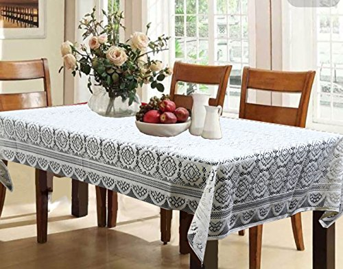 Kuber Industries™ Dining Table Cover Cream Cloth Net For 6 Seater 60*90 Inches (Self Design)