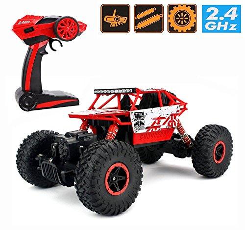 Auto Crawler (RC Rock Crawler,CrossRace Ferngesteuertes Auto,1:18 RC Auto,4WD Monster Truck/Off Road Fahrzeug (Rot1))
