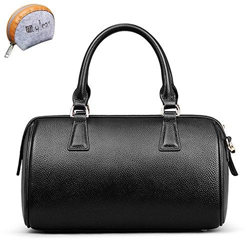 Delle Myleas femminile Tipo Cilindro Genuine Leather Tote del sacchetto di spalla Nero Increíble Precio Barato m7fBTiqUqn