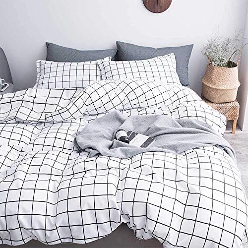 NANKO Bettwäsche-Set für Doppelbett/Queen/King-Size-Betten Modern Twin White Plaid (White Queen-size-betten)