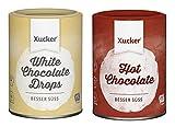 Xucker - 2er Schoko-Probierset (2 x 200 g) - Weiße Schokodrops und Trinkschokoladen-Pulver