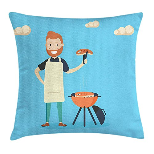 Trsdshorts BBQ Party Throw Pillow Cushion Cover, Cheerful Man Cooking Steak on a Grill in a Sunny Day Outdoor Barbecue Party, Decorative Square Accent Pillow Case, 18 X 18 Inches, Blue Multicolor - Viking Outdoor-grills