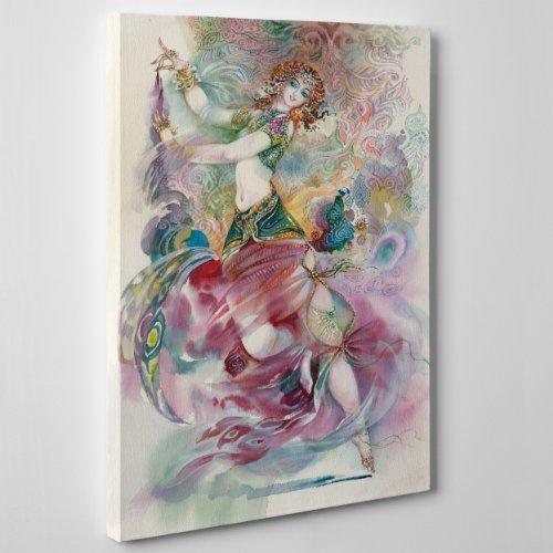 inwand Canvas-Ballerina Indiana-Ikone Aquarell Position Indien Bollywood Bombay-(Cod.113) Dimensione: 100x140cm ()