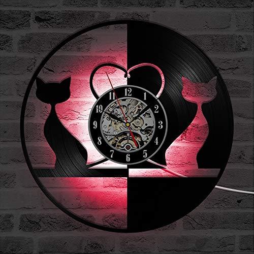 ZhangXF Nette Katze Vinylaufzeichnung Wanduhr, LED Leuchtende nachtlicht 12 Zoll Vinylaufzeichnung Uhr Dekoration