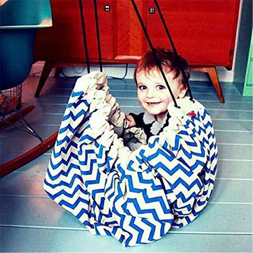 Tapis de jeu et sac de rangement pour jouets - Tapis de rangement pour activité durable au sol - Récipient portable à cordon de serrage pour jouets d'enfants, 140 cm\