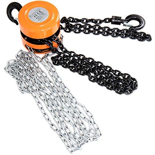 Timbertech Flaschenzug für bis zu 1 Tonne Traglast kann bis zu 2,5 Meter anheben und hat einen Mindestabstand von 0,3 m zwischen 2 Haken