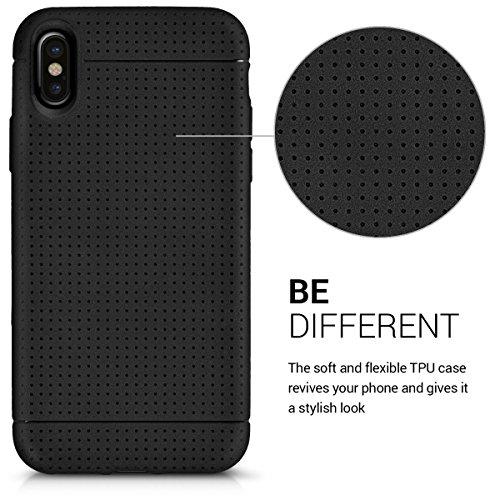kwmobile Cover per Apple iPhone X - Custodia in silicone TPU - Back case protezione posteriore per cellulare rosso scuro metallizzato nero opaco
