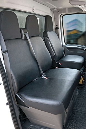 Walser 11537 Seat Covers for Fiat Ducato Single Seat and Double Bench Faux Leather Front Part from Year 06 / 2014 from Today