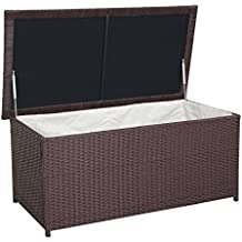 Mendler Poly Rattan Kissenbox HWC D43 Truhe Auflagenbox Gartentruhe 51x100x50cm 160l