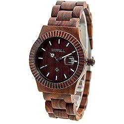 Wristwatch Men Red Sandalwood Quartz Watch Wood Wrist with Wooden Box