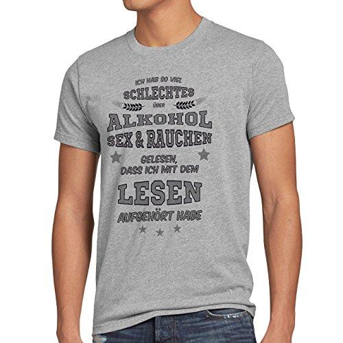 style3 Ich hab so viel schlechtes über Alkohol Sex Rauchen gelesen... Herren T-Shirt Spruch Fun Funshirt Shirt, Größe:M;Farbe:Grau meliert