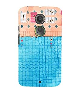 FUSON People Floating River Pool 3D Hard Polycarbonate Designer Back Case Cover for Motorola Moto X2 :: Motorola Moto X (2nd Gen)