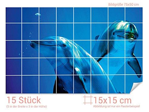 ////Bild: 105x70cm BxH GRAZDesign Fliesenaufkleber Delfinen unter Wasser Bad-Fliesen mit Fliesenbildern /überkleben BxH Fliesenma/ß: 10x10cm