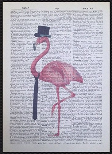Vintage Pink Flamingo Wörterbuch Print Seite Art Wand Bild Quirky Hipster (Seite-krawatte-hipster)