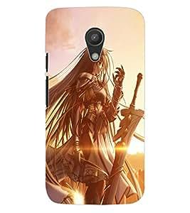 ColourCraft Warrior Girl Design Back Case Cover for MOTOROLA MOTO G2