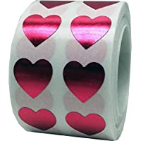 Heart Stickers, 13 mm 1/2 Inch Wide, 1000 Labels on a Roll