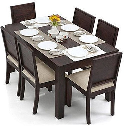 PUSHPA FURNITURE 6 Seater Dining Table Set (Finish : Mahogany, Colour : Wheat Brown)