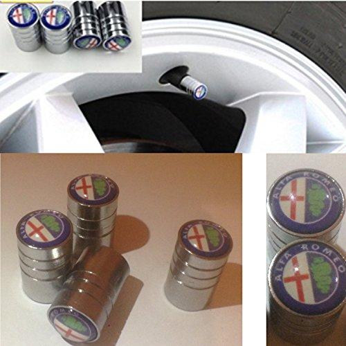 Alfa Romeo Lot de 4 bouchons de valve chromés - Pour Alfa 156, MiTo, Giulia, 159
