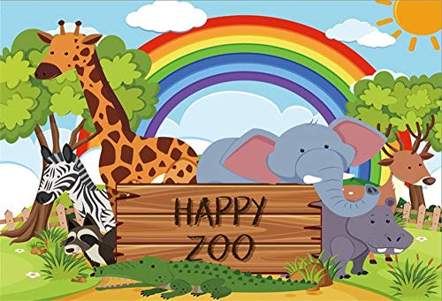 MMPTn 9x6ft Cartoon Zoo Foto Hintergrund Elefant Giraffe Regenbogen Baby Dusche Kinder Kinder Geburtstag Party Photo Booth Requisiten