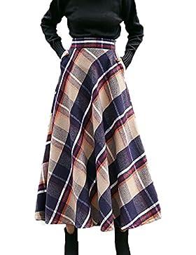 Enrejado De Lana De Invierno Falda Larga Para Mujer Vintage Cintura Elástica Oscilación Falda Acampanada Multicolor