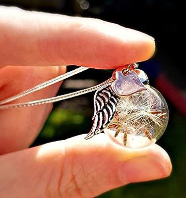Cadeau de Noël Or rose cœur et aile d'ange collier de pissenlit Chaîne ARGENT STERLING et boîte-cadeau - Pendentif en or rose collier d'ange gardien cadeau pour soeur ou meilleur ami