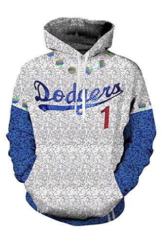 MingoTor Kapuzenpullover für Rocketman Elton John Dodgers Baseball Team Sweatshirt Hoodie Print Kapuzenpulli Tops Jacke Pullovershirt Sweatjacke Outwear Oberteile Hoodies Jumper Kaputzen Unisex