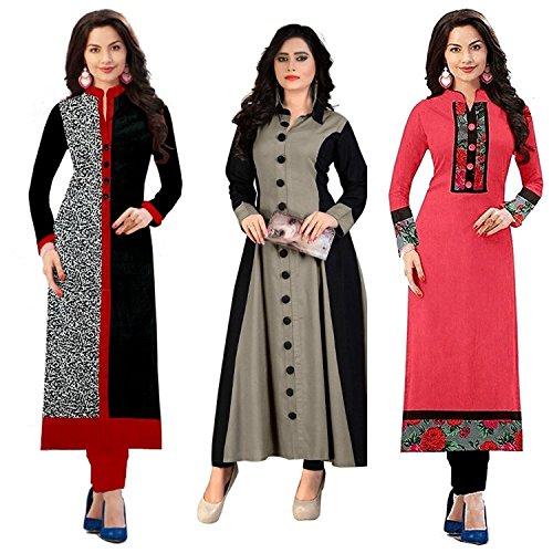 Pramukh Fashion New Semistichead pack of 3 kurtis combo