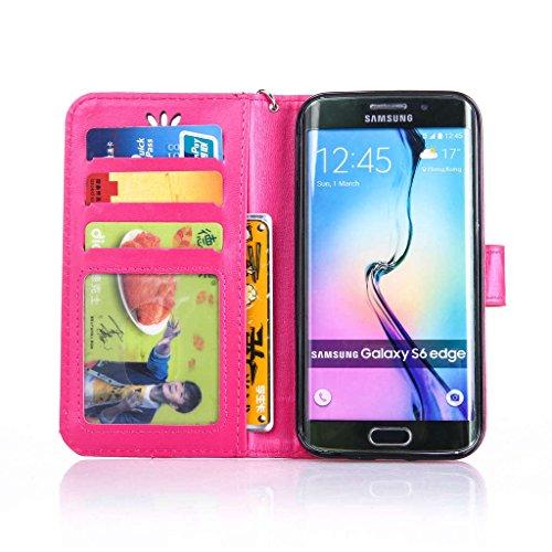Qimmortal - Custodia a portafoglio con design a flip per iPhone 6, 6S con protezione per schermo in omaggio, antigraffio, con retro morbido in silicone, stampa elegante dorata di farfalla con fiori, r Rose