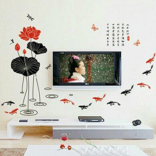 HL-PYL Das Wohnzimmer Sofa Wall Tv Hintergrund Wand Dekoration China Wind Schlafzimmer Studie Aufkleber Mit Lotus - Karpfen