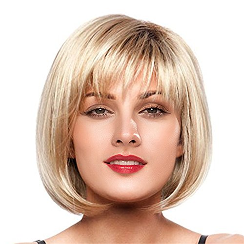 2 Echthaar Perücke (Mufly Damen Perücken 120 Dichte Menschenhaar Echthaar Capless Mischung Bob Perücken Mixed Human Hair Bobo Wig Cosplay Party Fasching Karneval (Blond))