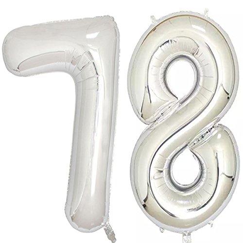 101,6cm Silber Folie 78Helium Jumbo Digital Nummer Luftballons, 78. Geburtstag Dekoration, für Frauen oder Männer, 78Birthday Party Supplies