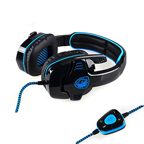 Sades Sa-901-Cuffie USB, di Chiusi, 7.1, USB, Controllo di Volume), colore: nero e blu