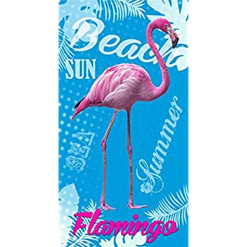 DecoKing Serviette de Plage 80x180 cm Micro-Fibre Refroidissement Qui S/èche Rapidement L/éger Absorbant Drap de Bain Sport Voyage Flamant Rose Blanc Rose Bleu Menthe Paradise