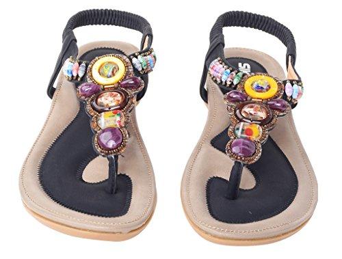 Vogstyle Donne Nuove Sandali Scarpe Stile Bohemian Pantofole A Tacco Piatto Stile-2 Nero