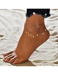 1593c936e28e Jovono Boho Beaded Star Tobilleras Moda Perla Tobilleras Pulseras Beach  Foot Joyas con corazón para mujeres