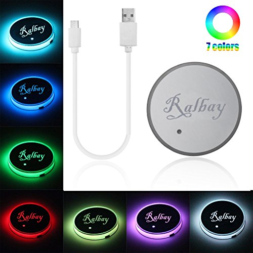 Preisvergleich Produktbild Ralbay Car Styling Cup Holder Pad LED Colour Changing Car Interior Decoration Atmosphere Lights USB Rechargeable Waterproof Drink Coaster for All Cars-Automatically Turn On at Dark
