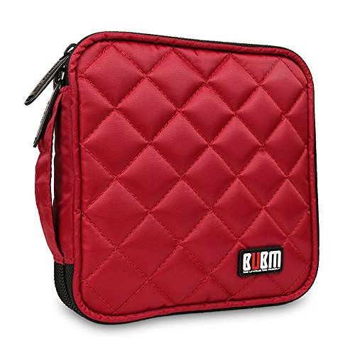 bubm-portable-water-resistant-32-disc-cd-dvd-vcd-dj-storage-media-holder-case-with-carry-handle-red