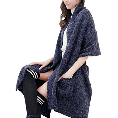 Art- und Weiseherbst-Winter-Frauen-Übergroßer Doppelt-Taschen-warmer Schal, Dame-feste elegante gestrickte Schal-Schals (Navy (Übergroßen Hut)